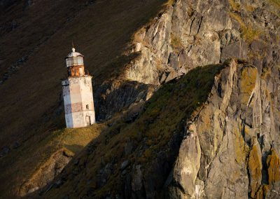 Lighthouse in the mountains of Magadan, Russia