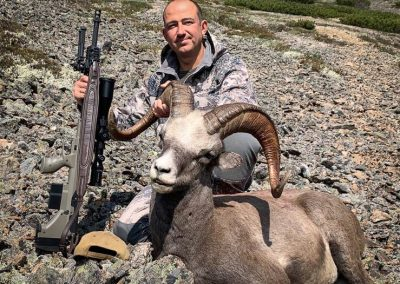 Oleg Molchanov hunting snow sheep with Kulu Safaris, Magadan, Russia