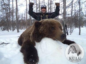 Successful brown bear hunt tour in Magadan, Russia